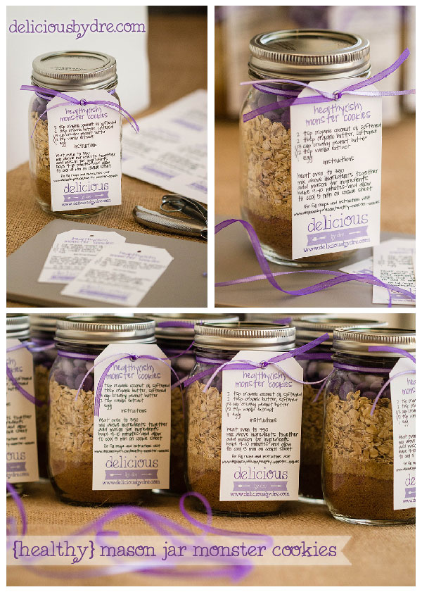 mason jar cookie gifts/favors...perfect for bridal or wedding showers! the best part is...the recipe is healthy!!