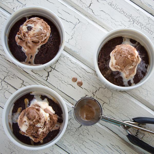 3 ingredient chocolate brownie pot
