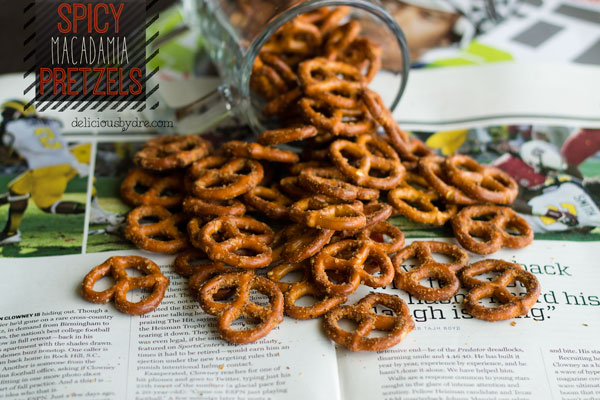 spicy macadamia pretzels…& a healthy tailgate recipe roundup!