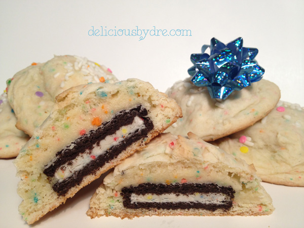 oreo stuffed cake batter cookies