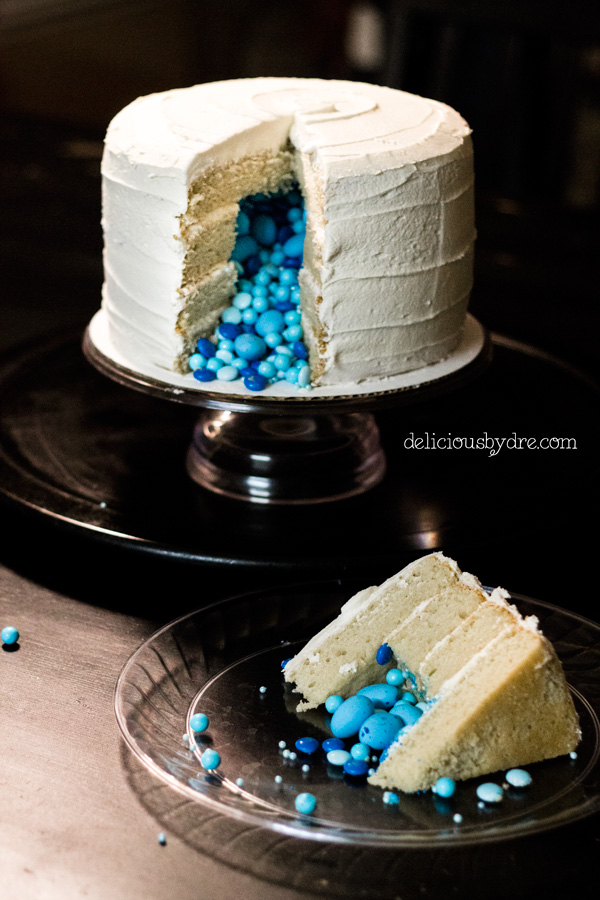 gluten free vanilla layer cake (gender reveal!)